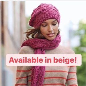 New Nordstrom Caslon beige beret knit winter hat
